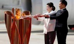 La llama olímpica en Japón