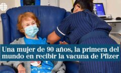 Una mujer de 90 años de Reino Unido, la primera en el mundo en recibir la vacuna de Pfizer