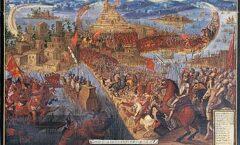 En bergantines y caballos tomaron los puentes y accesos a la ciudad, sitiándola. 'Códice Florentino'